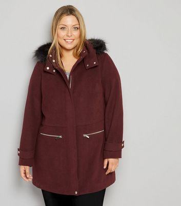 Curves Burgundy Faux Fur Trim Hooded Duffle Coat