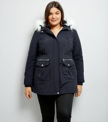 Curves Navy Faux Fur Trim Hooded Parka