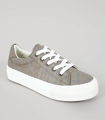 Grey Canvas Chunky Sole Lace Up Trainers