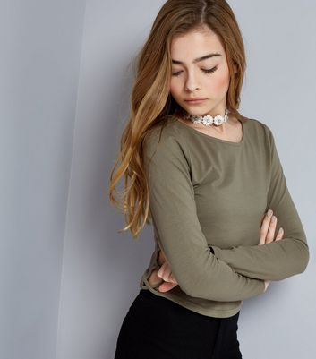 Teens Khaki Lattice Side Long Sleeve Top
