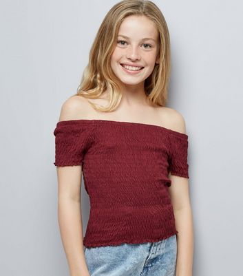 Teens Burgundy Shirred Frill Edge Bardot Neck Top