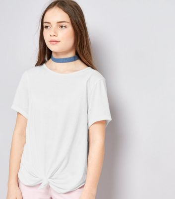 Teens White Knot Front T-Shirt