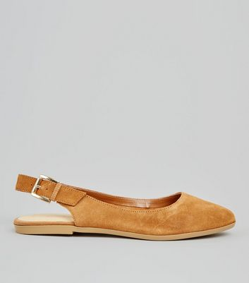 Tan Suede Sling Back Pumps