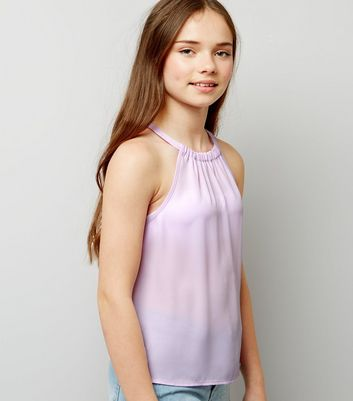 Teens Lilac Gathered Neck Cami Top