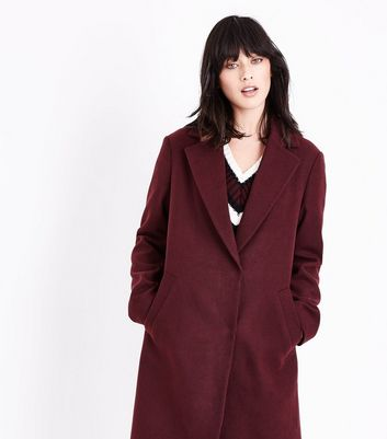 Burgundy Longline Collared Coat