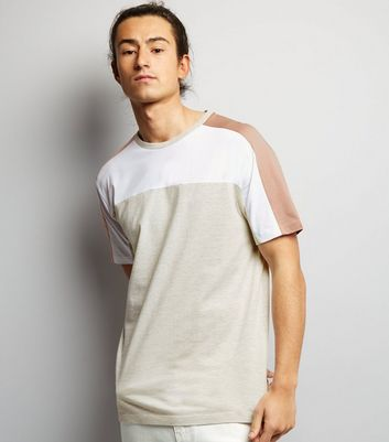 Cream Colour Block T-Shirt