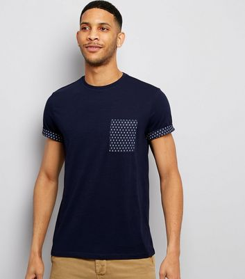 Navy Geometric Print Pocket T-Shirt