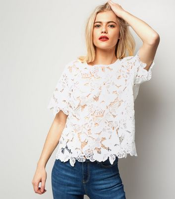 Cream Butterfly Lace T-Shirt