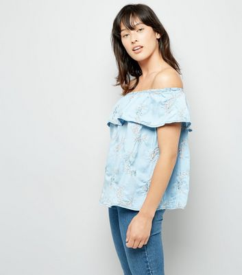 Blue Floral Embroidered Bardot Top