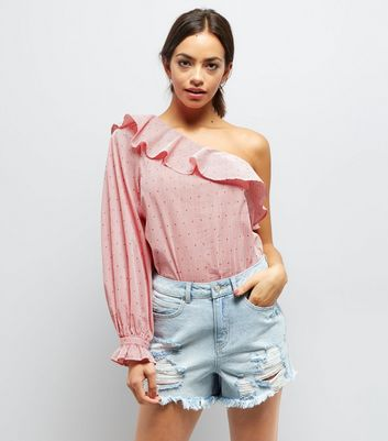 Blue Ripped Fray Hem Sequin Trim Denim Shorts