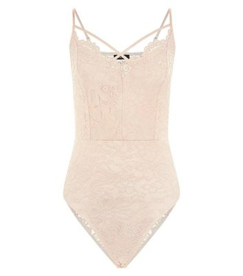 Shell Pink Lace Cross Strap Front Bodysuit