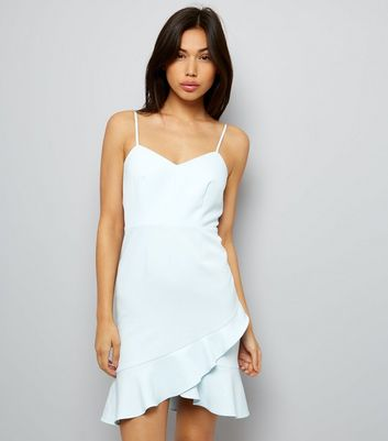 Pale Blue Frill Hem Bodycon Dress