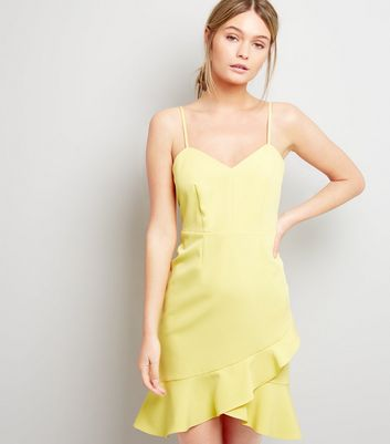 Yellow Frill Hem Bodycon Dress