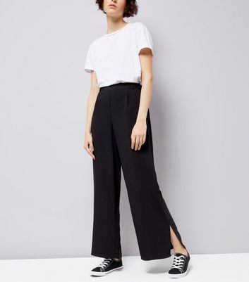 Black Split Side Wide Leg Trousers