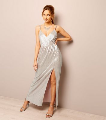 Rose Gold Plisse Cross Strap Maxi Dress