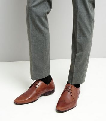 Brown Leather Textured Brogues