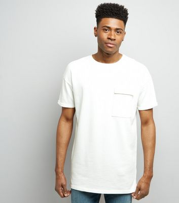 White Short Sleeve Pocket Front Longline Sweater