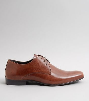 Brown Leather Pointed Derby Shoes