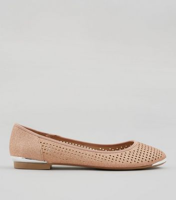 Rose Gold Glitter Cut Out Metallic Detail Pumps