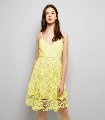 Yellow Premium Lace Midi Skater Dress