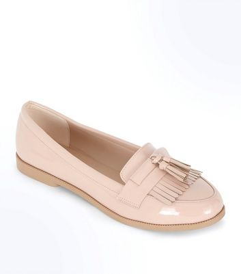 Nude Patent Fringe Front Loafers