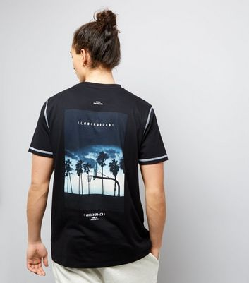 Black Venice Beach Bank Print T-Shirt