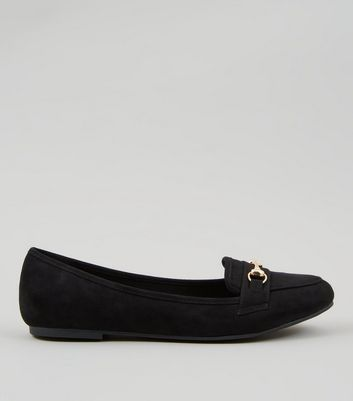 Black Suedette Snaffle Trim Loafers