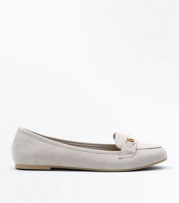 Grey Suedette Metal Trim Loafers