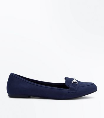 Navy Suedette Metal Trim Loafers