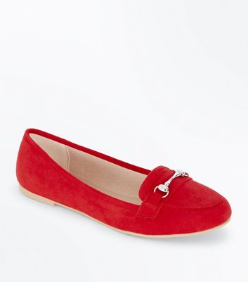 Red Suedette Metal Trim Loafers