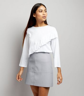 Petite Pale Blue Seam Trim Leather-Look Mini Skirt