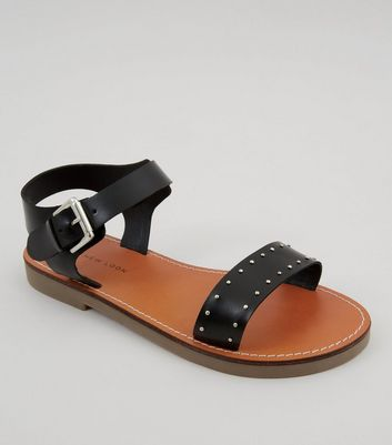 Wide Fit Black Studded Sandals
