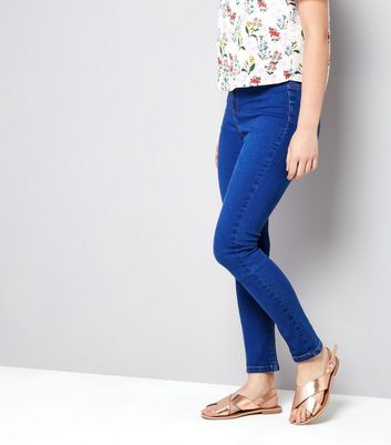 Teens Bright Blue High Waist Skinny Jeans