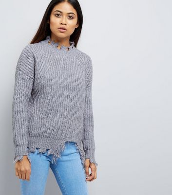 Petite Pale Blue Distressed Jumper