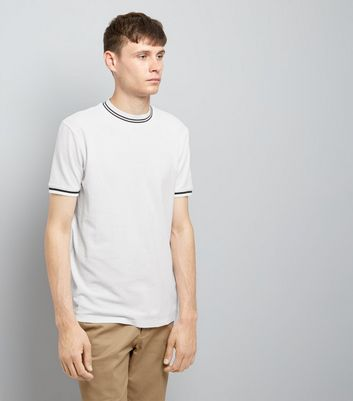 White Contrast Neck Trim T-Shirt