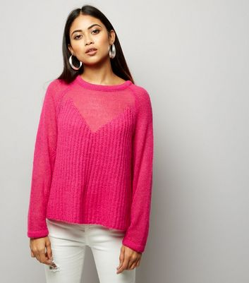 Petite Bright Pink Contrast Knit Jumper
