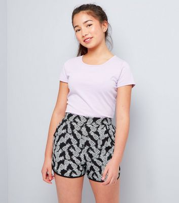 Teens Black Pineapple Print Shorts