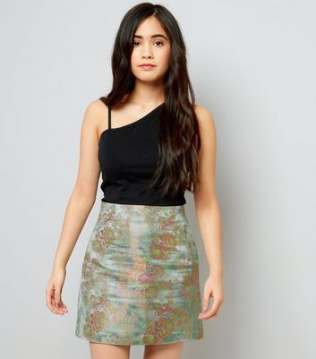 Teens Green Floral Jacquard Mini Skirt