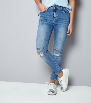 Teens Blue Whatever Forever Slogan Ripped Skinn Jeans