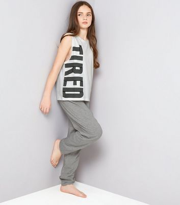 Teens White Tired Print Tank And Joggers Pyjama Set