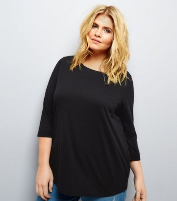 Curves Black 3/4 Sleeve Single Pocket Top