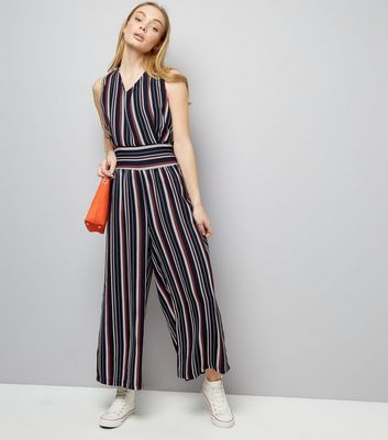 Mela Navy Stripe Shirred Jumpsuit