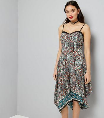 Blue Paisley Print Hanky Hem Dress