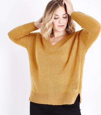 Curves Mustard V Neck Ribbed Jumper