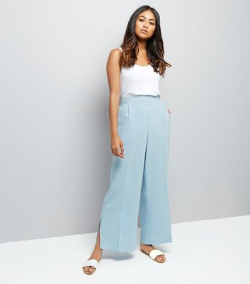 Petite Pale Blue Crepe Wide Leg Trousers