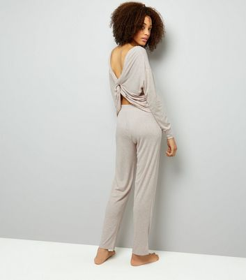 Cream Twist Back Pyjama Sweater