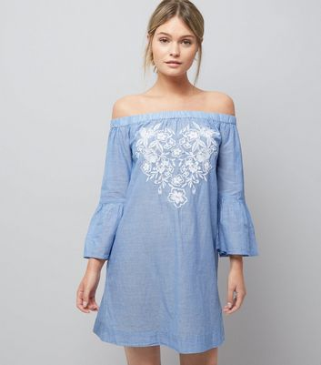 Blue Stripe Floral Embroidered Bardot Neck Beach Dress