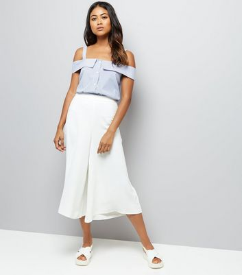 Petite White Wide Leg Cropped Trousers