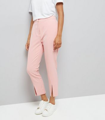 Petite Pink Split Front Trousers