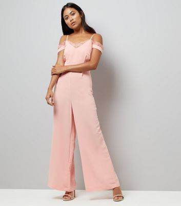 Petite Pink Lace Trim Cold Shoulder Jumpsuit